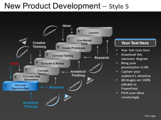Design New Product Development 5 PowerPoint Slides And Ppt Diagram Templates