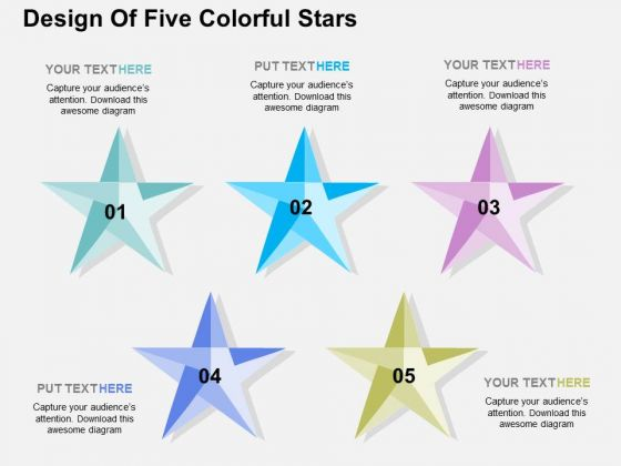 design of five colorful stars powerpoint templates powerpoint