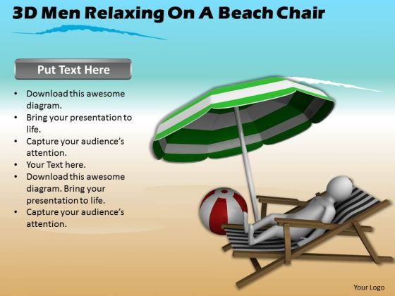 Develop Business Strategy 3d Man Relaxing On Beach Chair Concepts