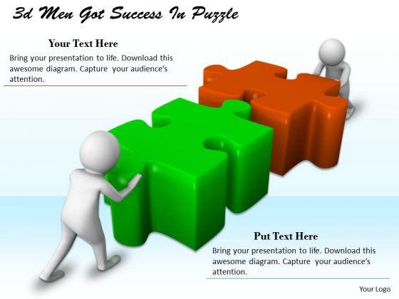 Develop Business Strategy 3d Men Got Success Puzzle Basic Concepts