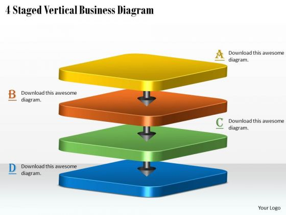 Develop Business Strategy 4 Staged Vertical Diagram Strategic Management Plan