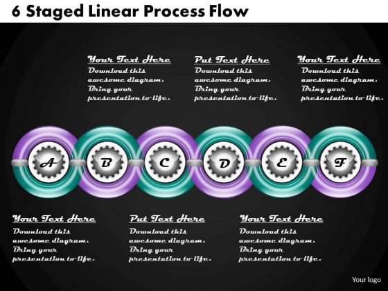 Develop Business Strategy 6 Staged Linear Process Flow Marketing Plan Ppt Slide