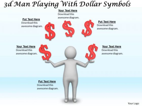 Developing Business Strategy 3d Man Playing With Dollar Symbols Character
