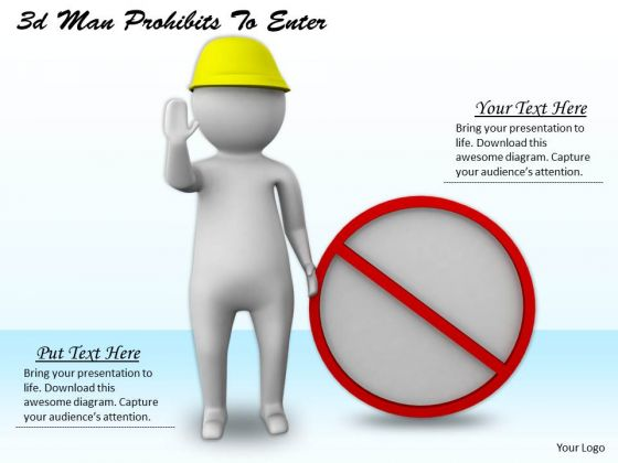 Developing Business Strategy 3d Man Prohibits To Enter Character