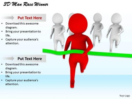 Developing Business Strategy 3d Man Race Winner Character