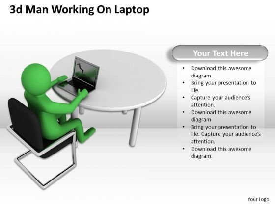 Developing Business Strategy 3d Man Working On Laptop Character