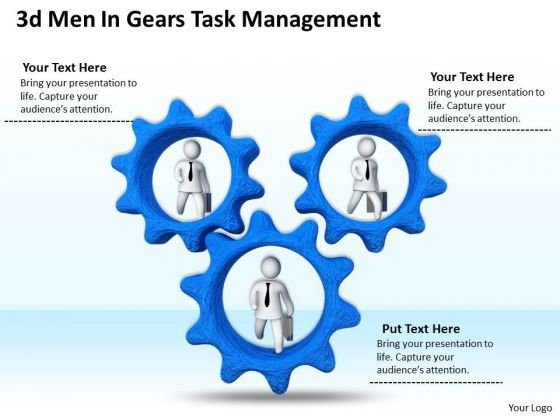 Developing Business Strategy 3d Men Gears Task Management Character
