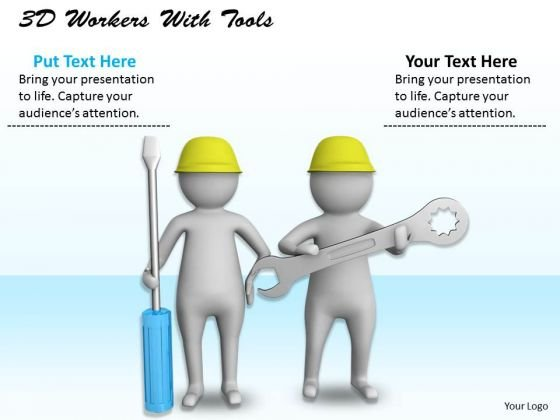 Developing Business Strategy 3d Workers With Tools Character Models