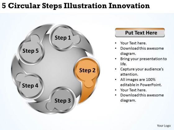 Developing Business Strategy 5 Circular Steps Illustration Innovation It