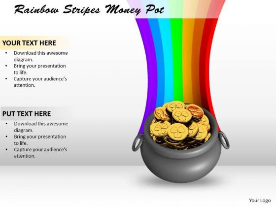 Developing Business Strategy Rainbow Stripes Money Pot Photos