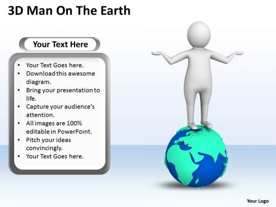Diagram Business Process 3d Man On The Earth PowerPoint Templates
