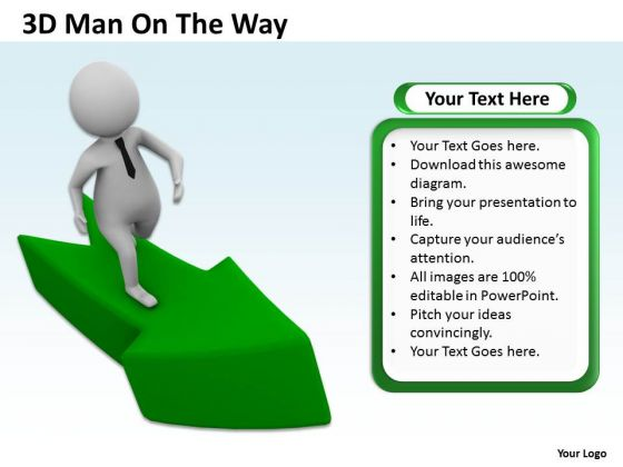 Diagram Business Process 3d Man On The Way PowerPoint Templates