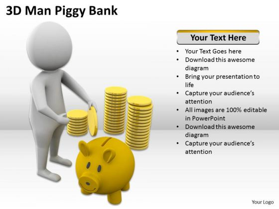 Diagram Business Process 3d Man Piggy Bank PowerPoint Templates