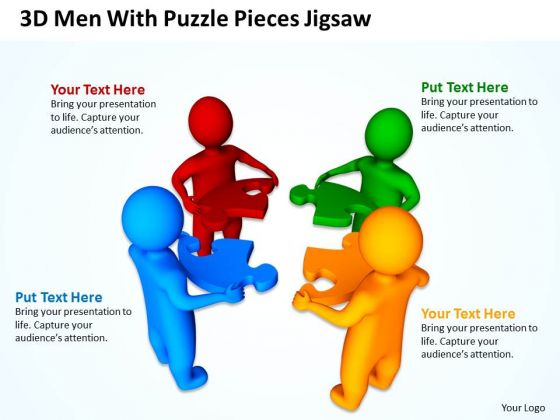 Diagram Business Process 3d Man With Puzzle Pieces Jigsaw PowerPoint Slides
