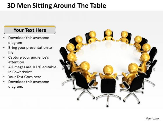 Diagram Business Process 3d Men Sitting Around The Table PowerPoint Slides