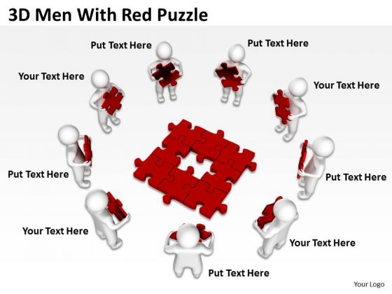 Diagram Business Process 3d Men With Red Puzzles PowerPoint Templates Backgrounds For Slides