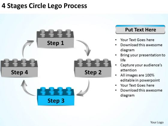 Diagram Business Process 4 Stages Circle Lego PowerPoint Slides