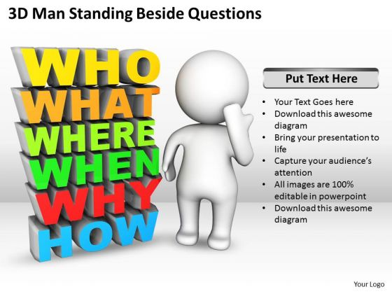 Diagram Business Process Standing Beside Questions PowerPoint Templates Ppt Backgrounds For Slides