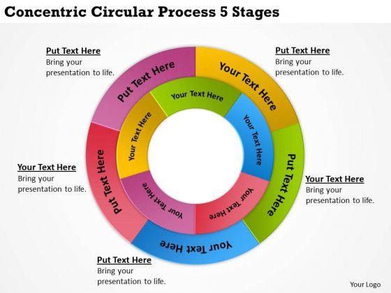 Diagram Of Business Cycle Concentric Circular Process 5 Stages PowerPoint Templates