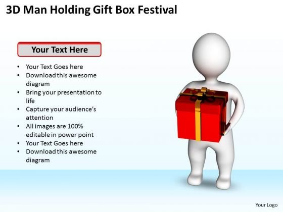 Diagram Of The Business Cycle 3d Man Holding Gift Box Festival PowerPoint Slides