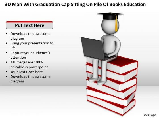 Diagram Of The Business Cycle Graduation Cap Sitting Pile Books Education PowerPoint Slides