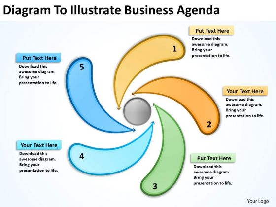 Diagram To Illustrate Business Agenda Example Of Plan PowerPoint Slides