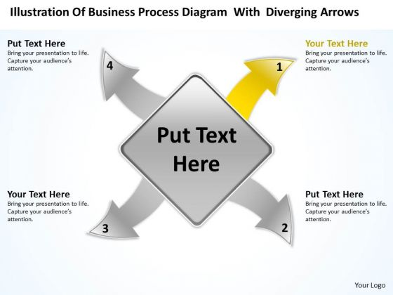 Diagram With Diverging Arrows Ppt Relative Circular Flow Process PowerPoint Slides