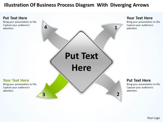 Diagram With Diverging Arrows Relative Circular Flow Process PowerPoint Slide