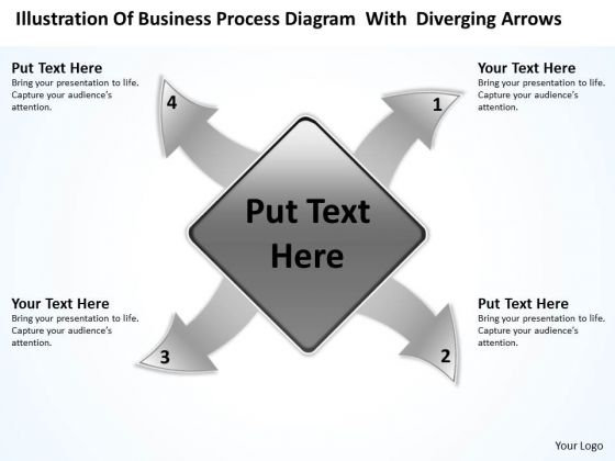 Diagram With Diverging Arrows Relative Circular Flow Process PowerPoint Slides