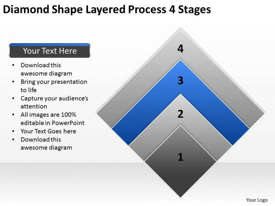 Diamond Shape Layered Process 4 Stages Business Plan PowerPoint Templates