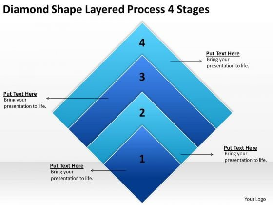Diamond Shape Layered Process 4 Stages Ppt Business Plan Example PowerPoint Templates