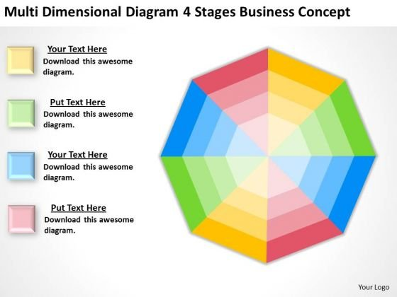 Dimensional Diagram 4 Stages Business Concept Ppt Plan PowerPoint Slides