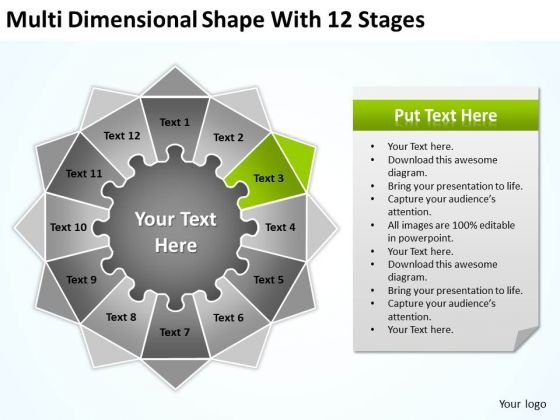 Dimensional Shape With 12 Stages Ppt Successful Business Plan Examples PowerPoint Templates