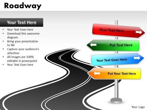 Direction Signs PowerPoint Slides And Road Signs PowerPoint Templates