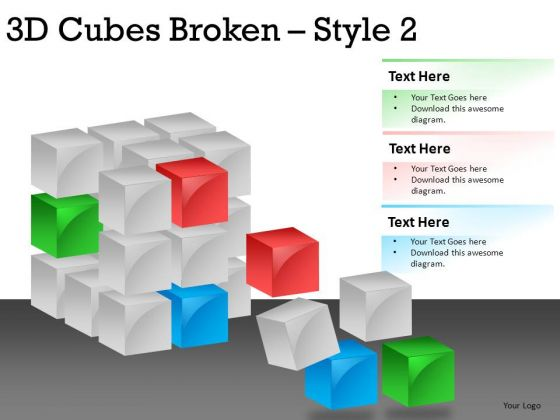 Disintegrating Cubes PowerPoint Slides And Ppt Diagram Templates