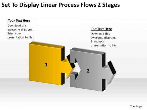 Display Linear Process Flows 2 Stages Sample Business Continuity Plan PowerPoint Templates