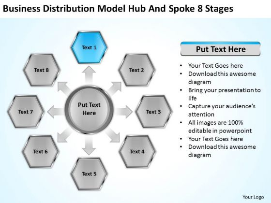 Distribution Model Hub And Spoke 8 Stages Example Business Plans PowerPoint Templates