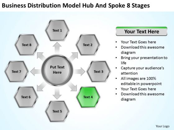 Distribution Model Hub And Spoke 8 Stages Ppt Business Plan Example PowerPoint Slides
