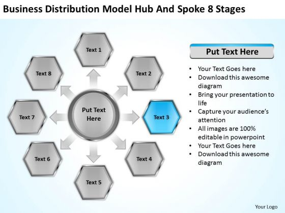 Distribution Model Hub And Spoke 8 Stages Ppt Planning Business PowerPoint Slides