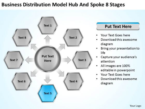 Distribution Model Hub And Spoke 8 Stages Ppt Setting Up Business Plan PowerPoint Slides