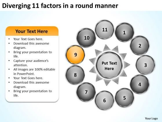 Diverging 11 Factors Round Manner Circular Flow Motion Process PowerPoint Slides