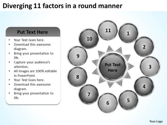 Diverging 11 Factors Round Manner Ppt Circular Motion Process PowerPoint Slides