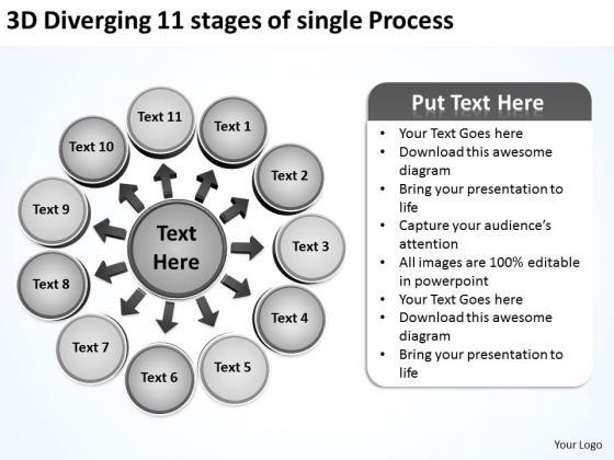 Diverging 11 Stages Of Single Process Ppt Relative Circular Flow Arrow Diagram PowerPoint Slides