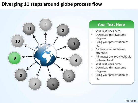 Diverging 11 Steps Around Globe Process Flow Circular Network PowerPoint Templates