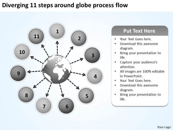 Diverging 11 Steps Around Globe Process Flow Ppt Circular Arrow Network PowerPoint Slides