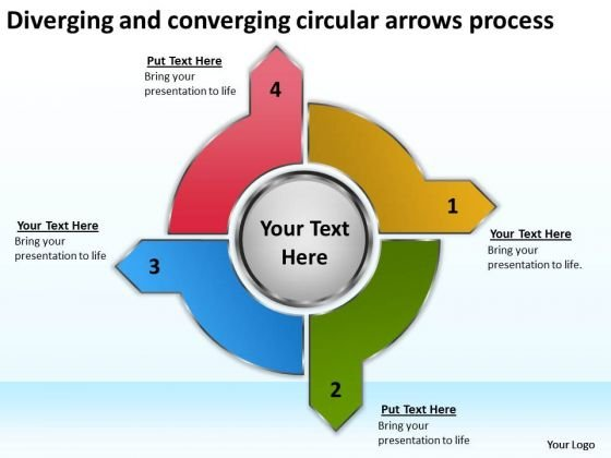 Diverging And Converging Circular Arrows Process Cycle Flow Chart PowerPoint Slides