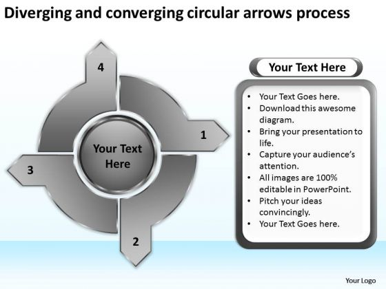 Diverging And Converging Circular Arrows Process Flow Network PowerPoint Slides