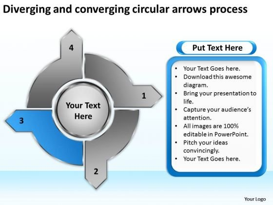 Diverging And Converging Circular Arrows Process Radial Chart PowerPoint Slides