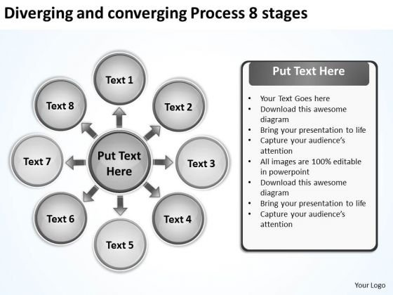 Diverging And Converging Process 8 Stages Circular Flow Arrow Diagram PowerPoint Slides