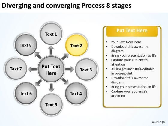 Diverging And Converging Process 8 Stages Circular Network PowerPoint Templates